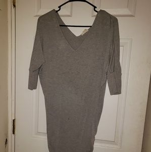 Gray ruched dress